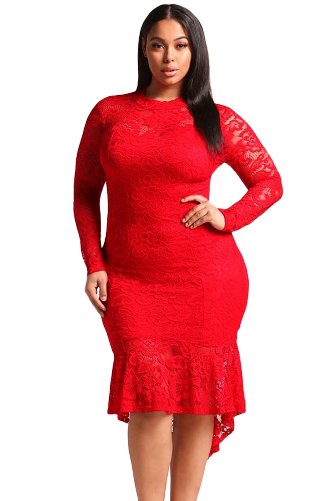 Plus Size Floral Lace Women Mermaid Dresses ( $10 OFF OVER $99 )