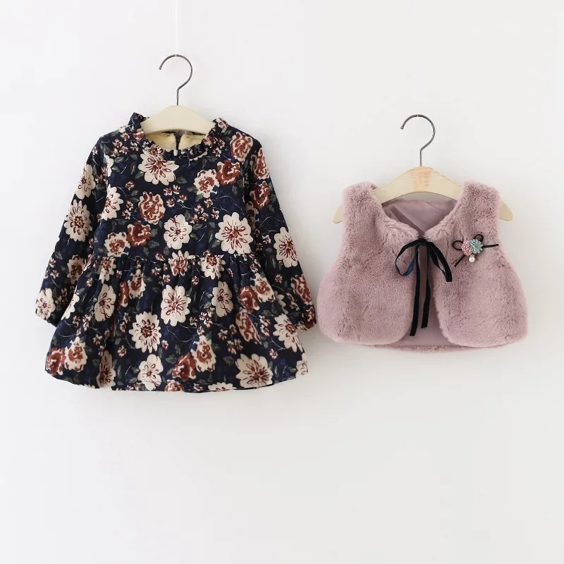 2017new autumn spring Style Baby Girl Clothing Set printing flower long sleeve dress+ Artificial rabbit fur vest Girls Suit 2017 new style spring autumn hoodie baby girl clothing set sequin lace long sleeve velour sports jacket long trousers outfits