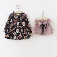 2017new otoño primavera Estilo Baby Girl Clothing Set flor de la impresión vestido de manga larga + chaleco de piel de conejo Artificial Juego de Las Muchachas