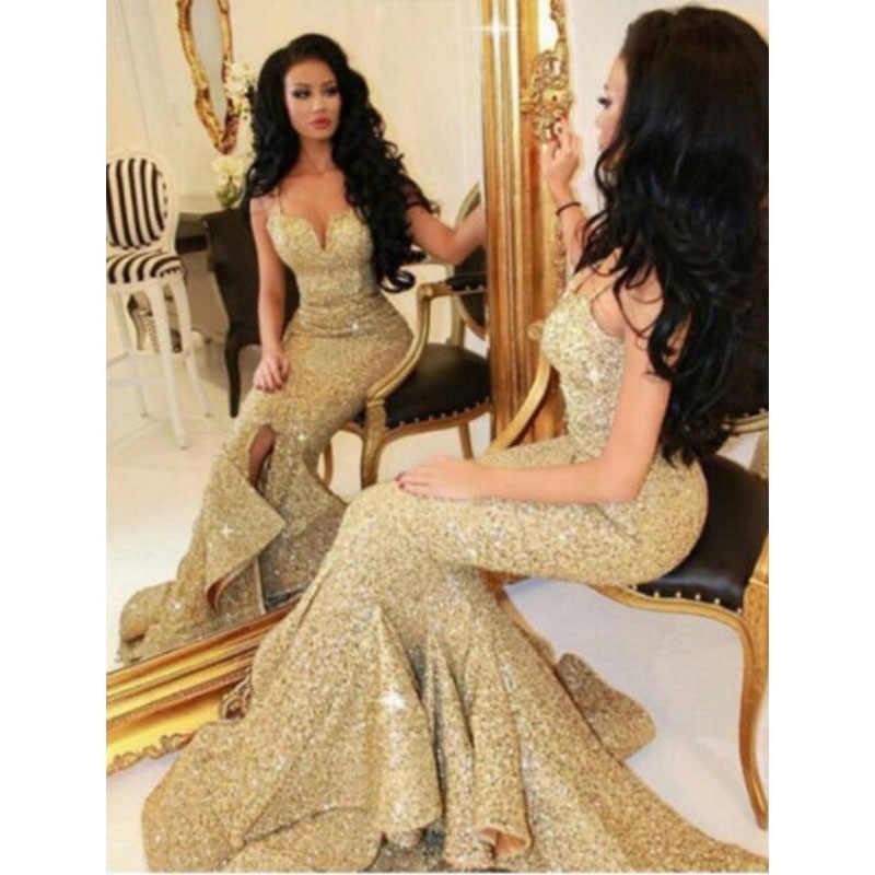 Seksi Sequins altın Mermaid abiye giyim spagetti sapanlar ön bölünmüş kat uzunluk Pageant balo kadın elbiseleri resmi giysi