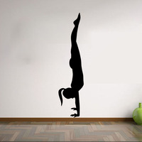 Woman Yoga Pose Pilates Gym Sport Wall Stickers Vinyl Art Murals Home Decor Bedroom Wall Decals