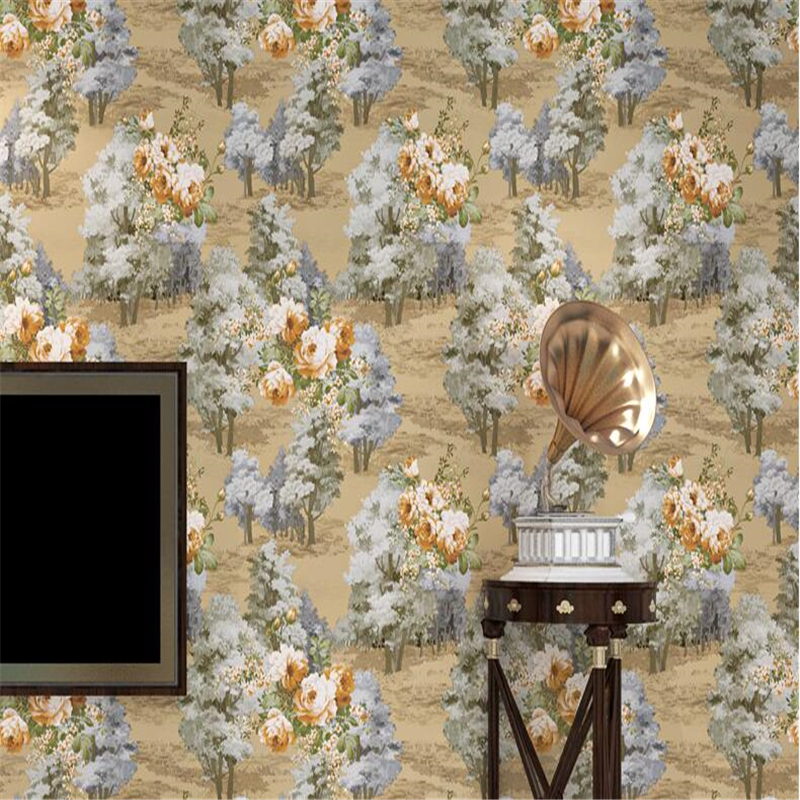 beibehang papel de parede American retro garden flower non-woven wallpaper bedroom living room TV background wall paper 3d beibehang papel de parede 3d non woven wall paper flower wallpaper bedroom living room wall paper tv background home decoration