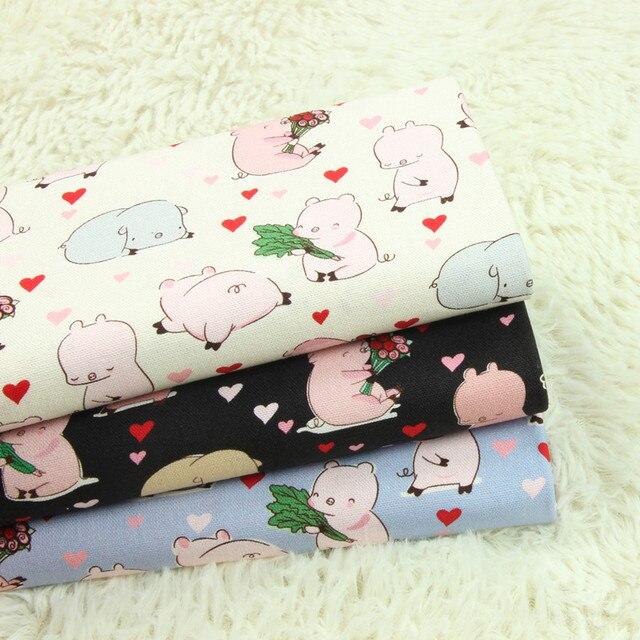 قماش قطني سميك بنصف ياردة مع طبعة على شكل وردة كرتونية على شكل خنزير صغير ، حقيبة للملابس مصنوعة يدويًا يمكنك صنعها بنفسك من القماش 100% قطن A995