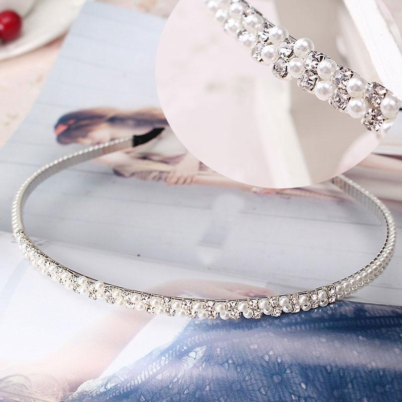 M MISM Elegant Wedding Birthday New Crystal Pearl Hair Bands Headband Hair Accessories Ornaments Head Wear Hoop For Women Girls
