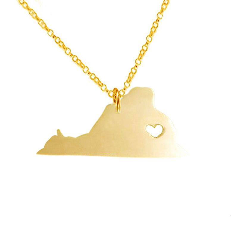 Newly 316L Stainless Steel Virginia Necklace American State With Hollow Heart Map Necklace Statement Pendant Jewelry 3Colors