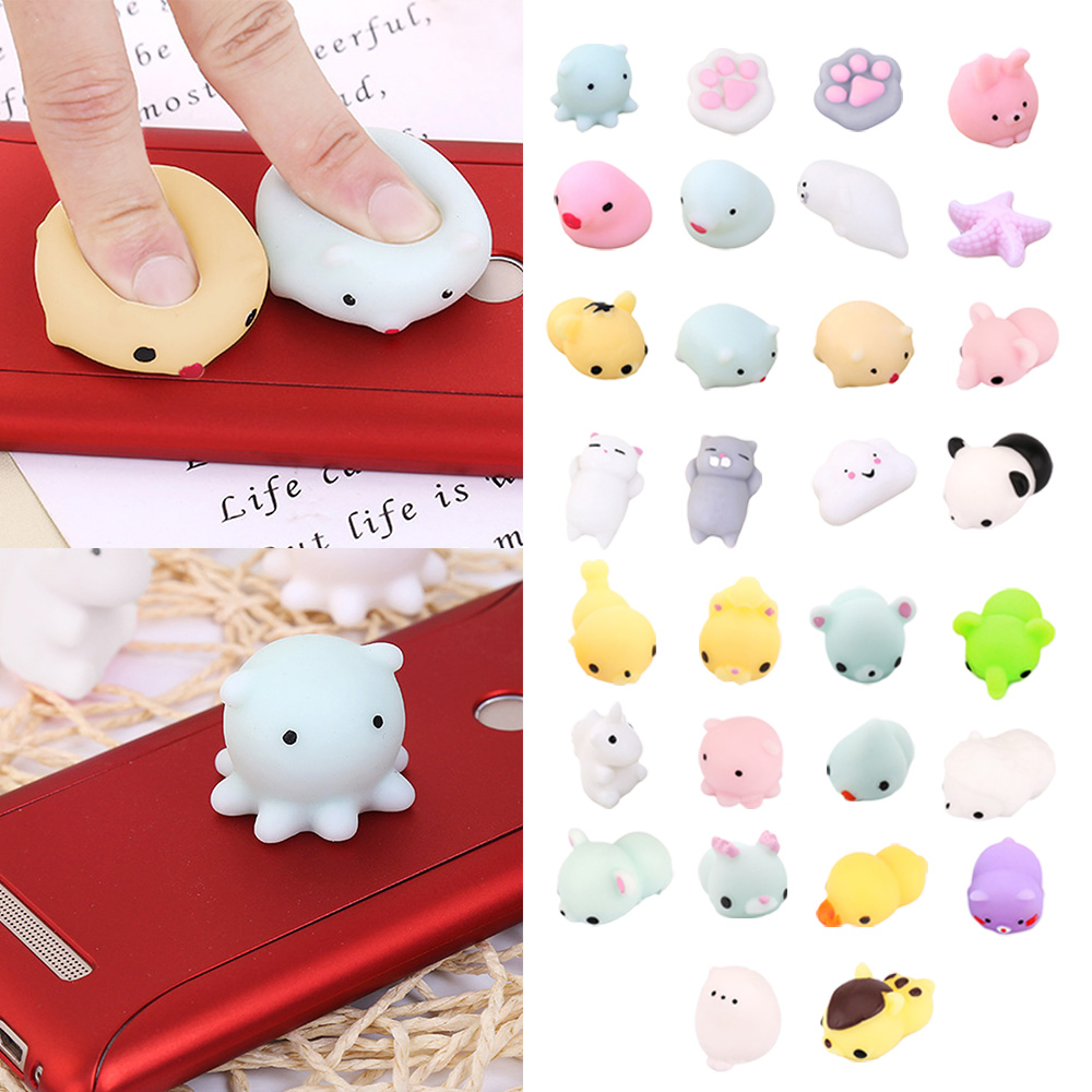 Besegad 30 PCS Kawaii Soft Wipes Mochi Squishy Squeeze Animal Cat Toys Slow Rising for Children Adults Relieves Stress Anxiety