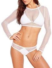 Sexy Women Triangle Push-Up Bikini Set Swimwear 3Pcs Deep V Halter Swimsuit Beachwear Mesh Fishnet Hollow Out Beachwear Swimming