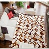 Pastorable Style Luxury Cowhide Seamed Rug Geometrical Pattern Modern Real Cowskin Chequer Carpet For Living Room