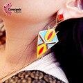 # Fashion Women Bohemia Ethnic Style Handmade Full Colorful Bead Big And Long Exaggerate Rhombus Waterdrop Dangle Earrings