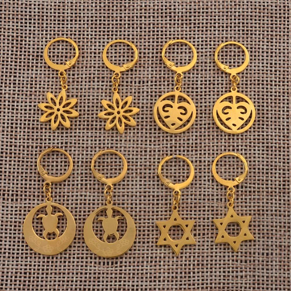 Anniyo Small Tortoise Flower Star Earrings For Girls Kids Stainless Steel Kiribati Earring Island Style Jewelry Gifts #044721