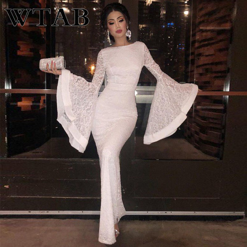 Women's Clothing Wtab Vestido Empire Women Dress 2019 Full Flare Spring Summer Dress Lace Clothes Bodycon O-neck Zippers Long Party Dresses Femme