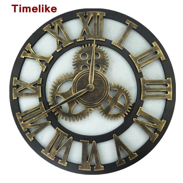 f56baecaedf Engrenagem arte Relógio Rústico Relógio De Parede de Madeira Feitos À Mão  Retro 3D Grande Decorativo