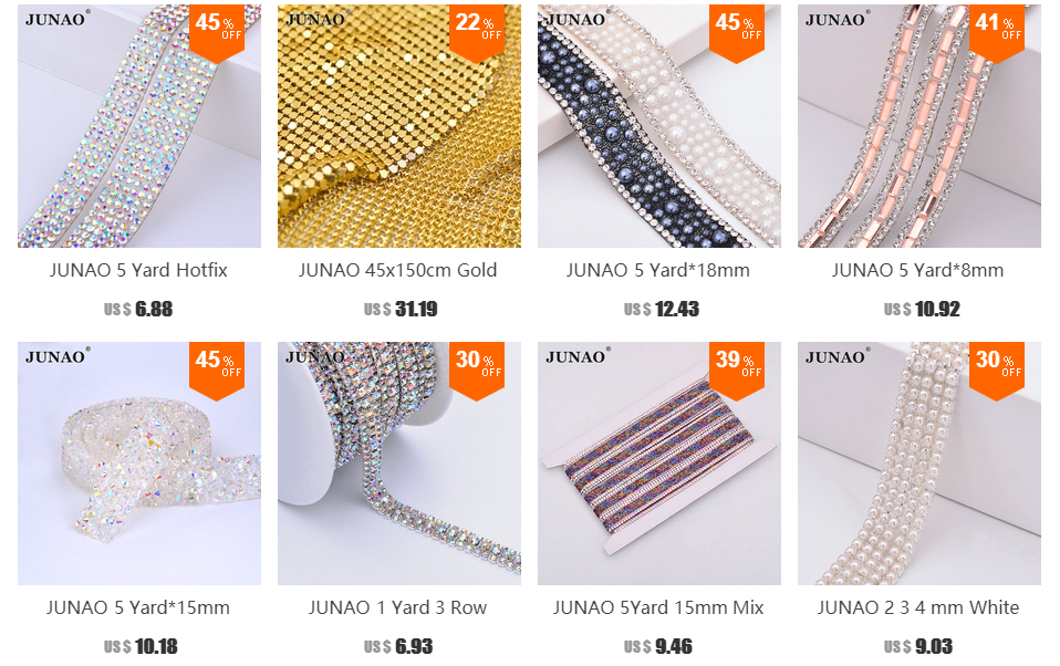 JUNAO 24 40cm Champagne Self Adhesive Rhinestones Fabric Hot-Fix Crystal  Mesh Trim 059fde9d355b
