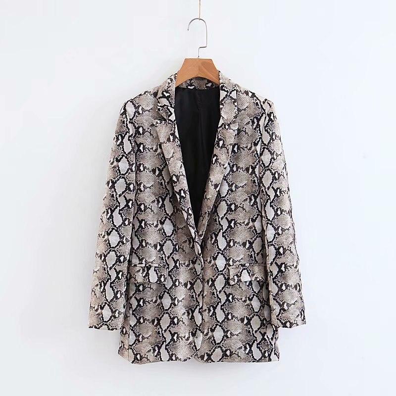 Women Vintage Snake Skin Print Blazer Notched Collar Long Sleeve Outwear Suit Coat Office Lady Cardigan Jacket Autumn Tops Ct127