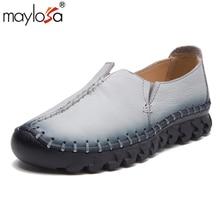 MAYLOSA frauen Handgefertigte Schuhe Aus Echtem Leder Flach frau Mode Faulenzer Weibliche Weiche Einzigen Freizeitschuhe