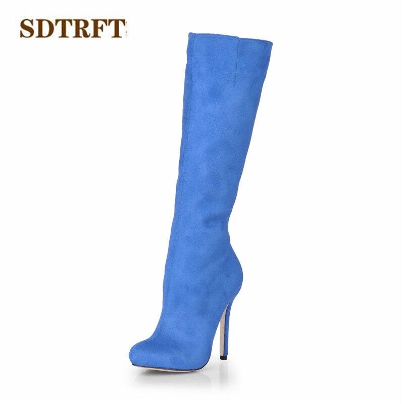 db463bf9 La Altas Finos Sexy Flock Hasta Primavera Zapatos Bombas Moda Envío De  Stiletto Sdtrft Tacones 12 Mujer ...