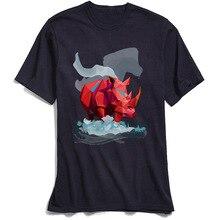 цена на 3D T Shirts Red Rhinoceros Print Men T-Shirts Summer High Quality Short Sleeve 100% Cotton Fabric Crew Neck Young TShirt Custom