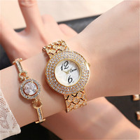 Top Luxury Gold Big Number Dial Watches Women Fashion Ladies Diamond Casual Wristwatch Elegant Female Rhinestone Quartz Clock