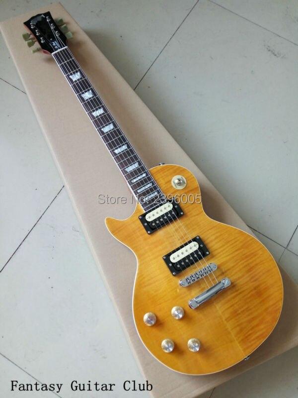 Exclusif personnalisé gaucher Slash LP Guitare électrique tigre rayé d'érable couverture jaune couleur corps En Acajou et le cou