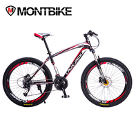 LAUXJACK Mountain Bike Steel Frame 27 Speed MicroSHIFT 26 Wheel Hydraulic Disc Brakes
