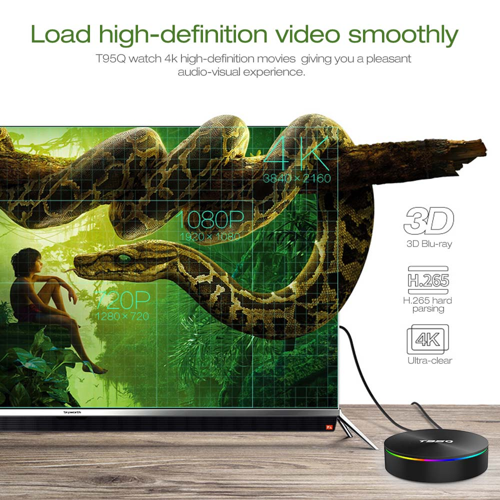 T95Q Android TV Box Android 9.0 Amlogic S905 Y2 4GB DDR4 32GB ROM 2.4G 5G WiFi USB3.0 BT 4.2 Support 4K H.265 lecteur multimédia intelligent - 4