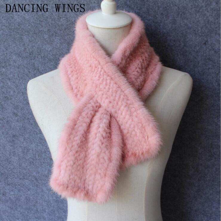 Good Quality Winter Knitted Real Mink Fur   Scarf   For Women Warm Winter Fur   Scarves     Wraps