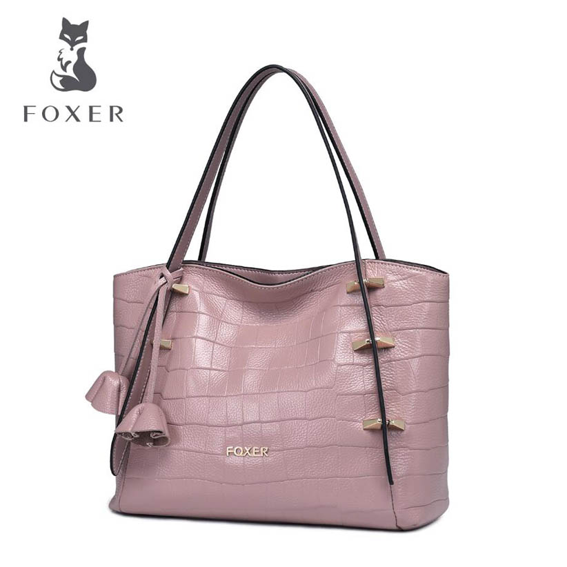 2017 New FOXER women genuine leather bag designer famous brand handbags fashion Crocodile pattern women leather shoulder bag