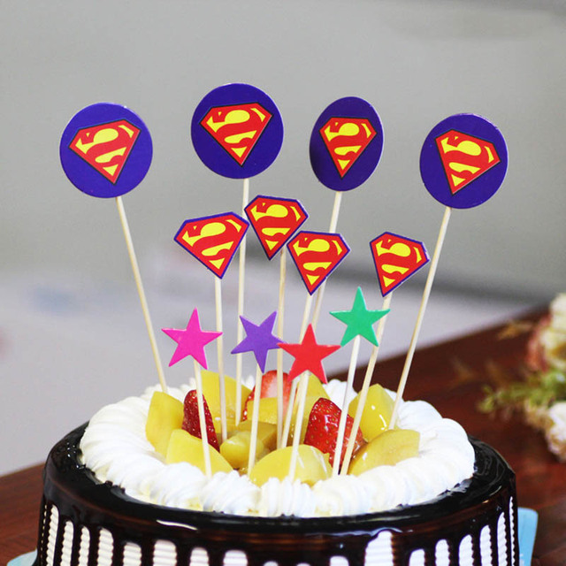 12pcs Superman Captain America Cupcake Topper Cake Party Supplies
