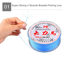 Japan Quality Grey Color 100m Super Strong 4 Strands PE Braided Fishing Line 8LB – 90LB Multifilament Fishing Line Blister Pack