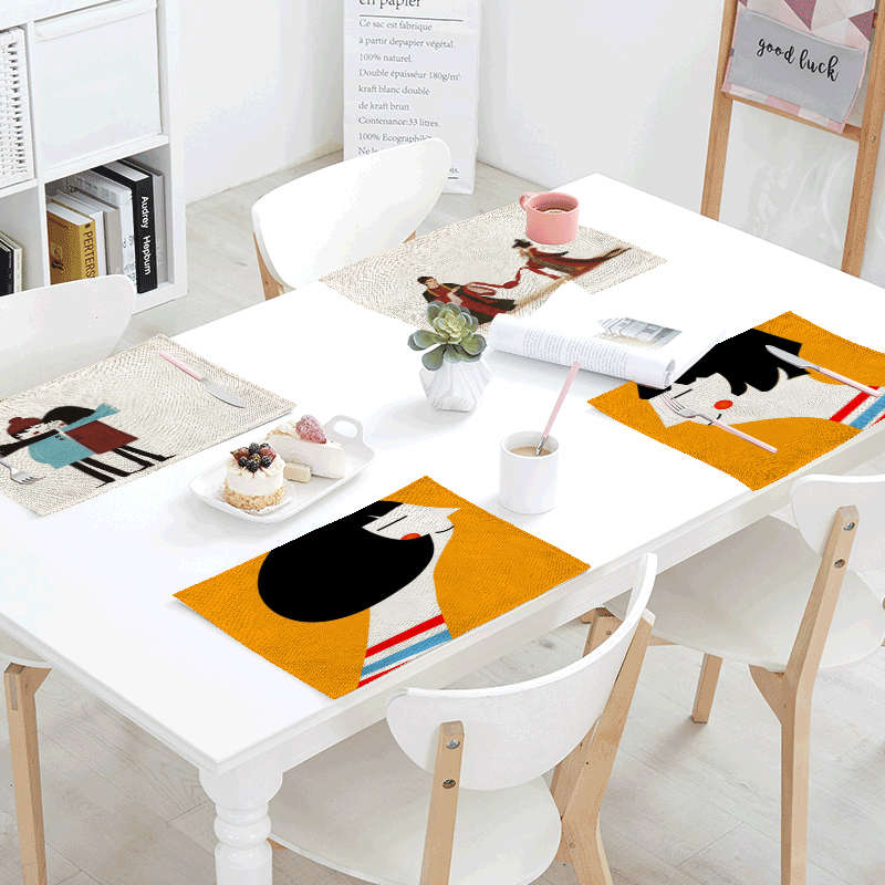Chinese Couple Lovers Dots Table Napkin Black and Beige Striped Placemat Letter Rose Table Mat Decor Dining Hall House