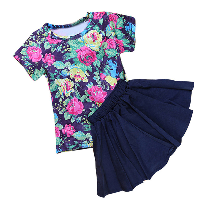 2018 NEW Summer fashion Comfortable Floral Baby Kids Girl Dress Short Sleeve Tops T-Shirt+Skirt Outfits Set Children Clothing p5