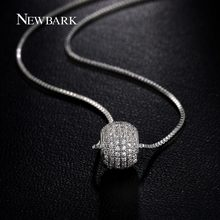NEWBARK Silver Color Round Spinner CZ Ball Necklace for Women Female Short Design Necklaces pendants Fashion