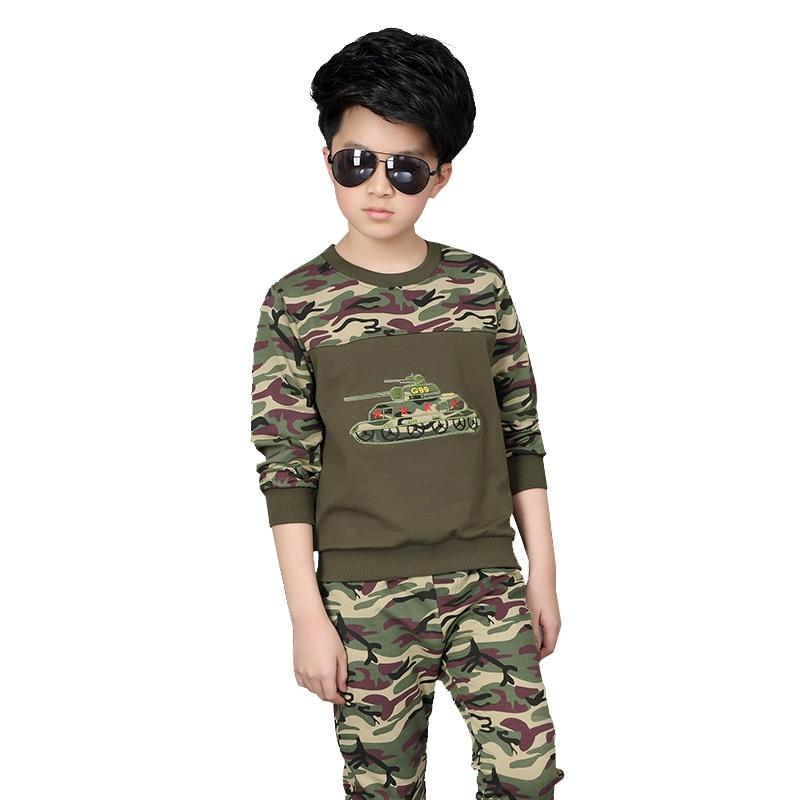 Boy Camouflage Tracksuit Clothes Print 2pcs / set Kids Spring Cotton School  Uniform Sport Suit children Clothing Sets 3-12 year bibicola baby boy clothing sets spring autumn children long sleeve clothes bebe 3pcs tracksuit set toddler sport outfits suit