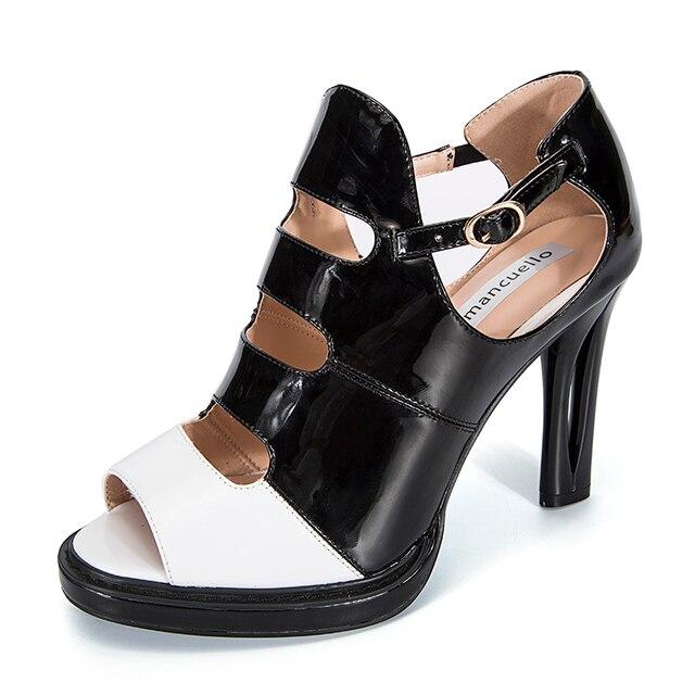 Moda Negro Blanco Rojo Tacones Altos Zapatos de Plataforma Mujer Bombas Sexy  Peep Toe Sandalias de 12628e351ebe