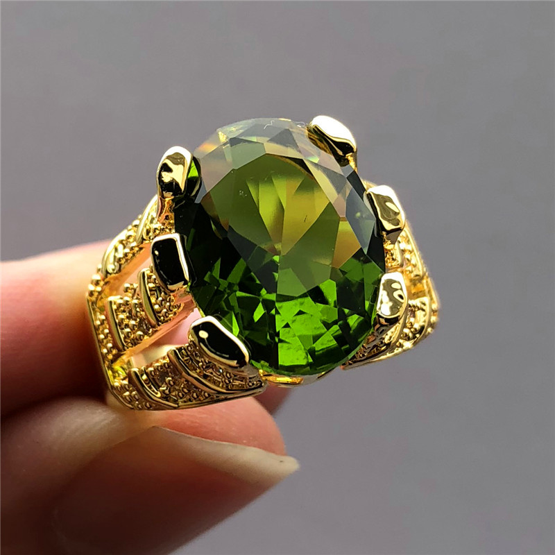 Big Crystal Finger-Ring Zircon Peridot Oval Promise Gold Male Yellow Luxury New-Fashion