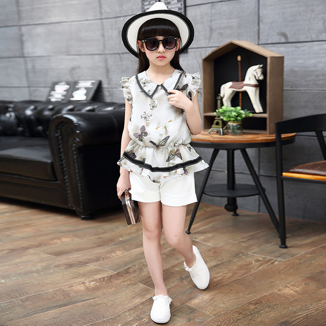 8af8d795a5a 2018 New Kids Clothes Girls flowers Sets Lace Summer Chiffon Knit Suit  Children Turn-down