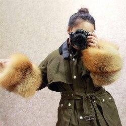 MLHXFUR красный меха лисы манжеты на рукавах с натуральным мехом манжеты пальто Silver fox меховые манжеты зимние из натурального меха