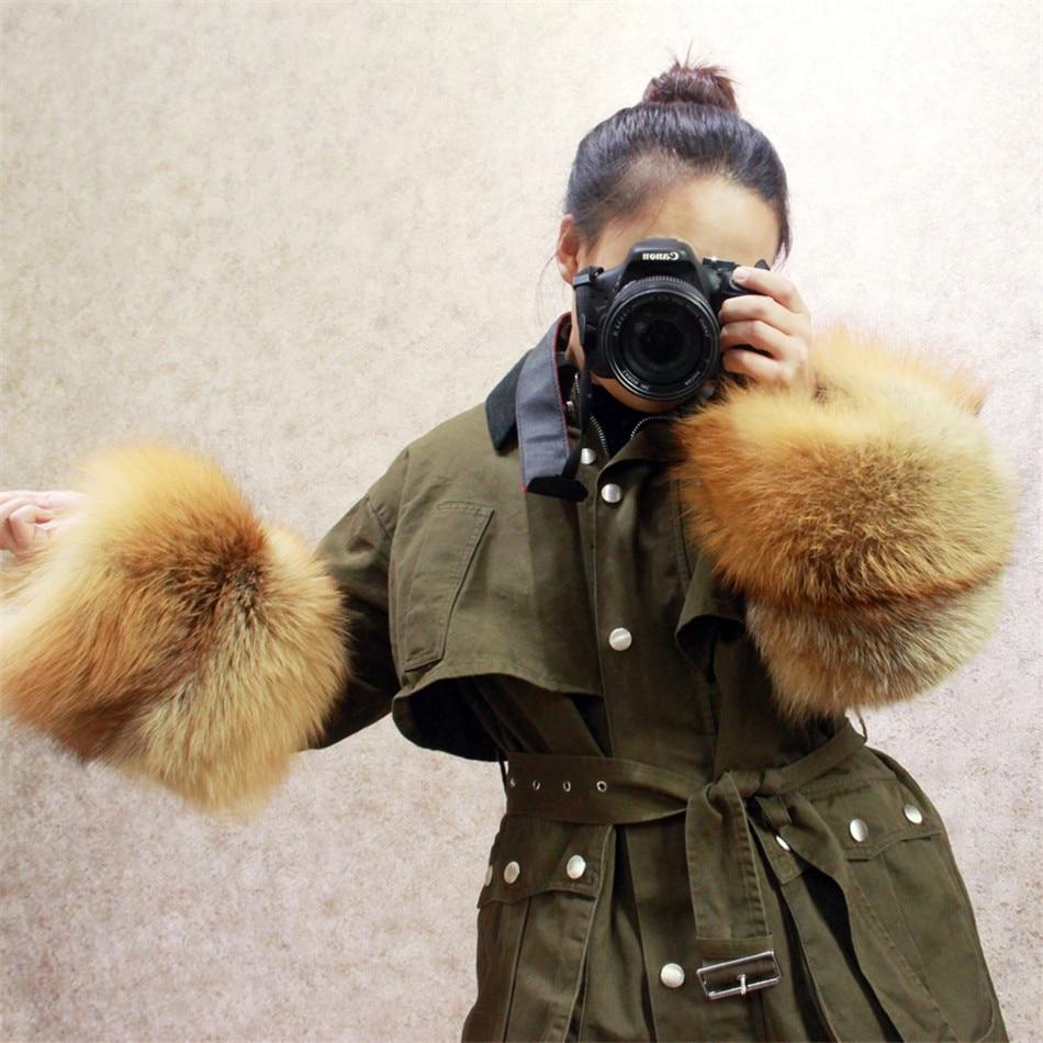 MLHXFUR Red Fox Fur Sleeve Cuffs Real Fur Cuff Coat Silver Fox Fur Cuffs Winter Genuine Fur