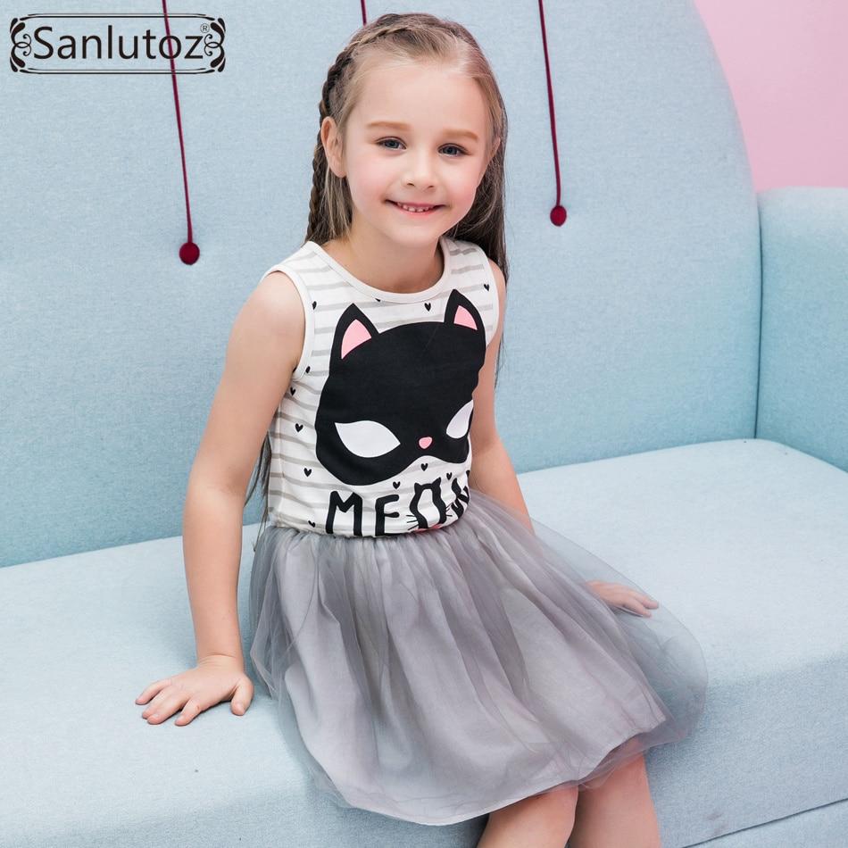 Sanlutoz Tutu Girl Dress Stripe Costume for Kids Cat Cartoon Summer ...
