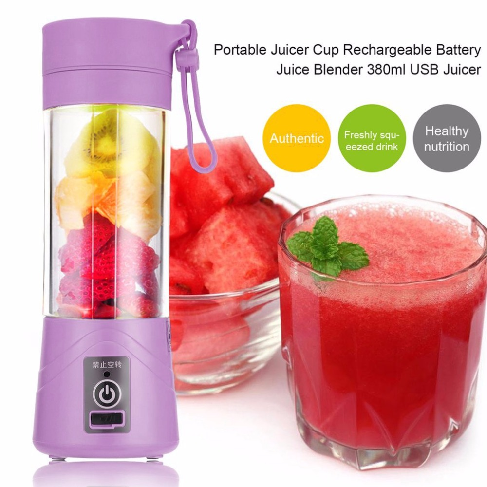 380ML Multifunctional Portable Juicer Bottle Cup Rechargeable Battery Juice Blender  USB Juicer Blender Household Use Purple usb rechargeable 500ml healthy portable hydrogen rich water cup transparent glass bottle with lid