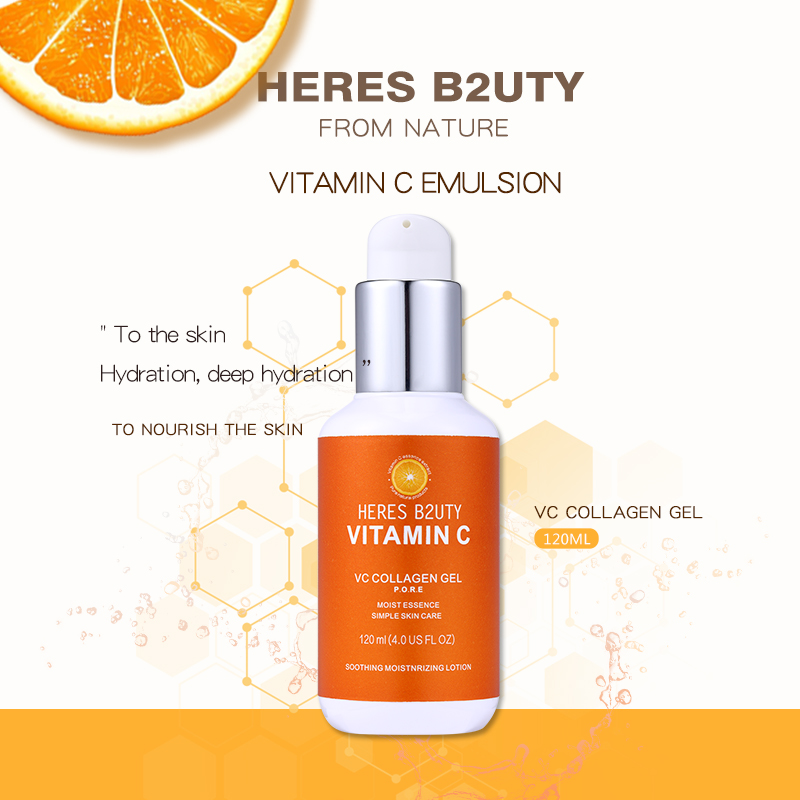 120 Ml HERES B2UTY Vitamin C Snowy White Face Serum Whitening Women Firming Emulsion Plant Essence Skin Care Wrinkle Cream