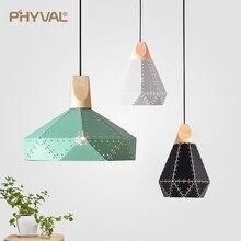 PHYVAL תליון אור מודרני E27 Macron צבע תליון מנורת עץ ברזל אהיל כבל 1.2m תליון לחדר שינה