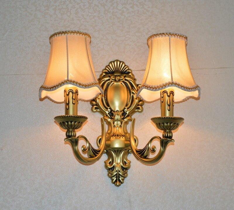 Europese vintage messing ijzer kaars dubbele slider wandkandelaar lamp thuis deco slaapkamer bronskleur stof E14 lamp wandlamp - 2