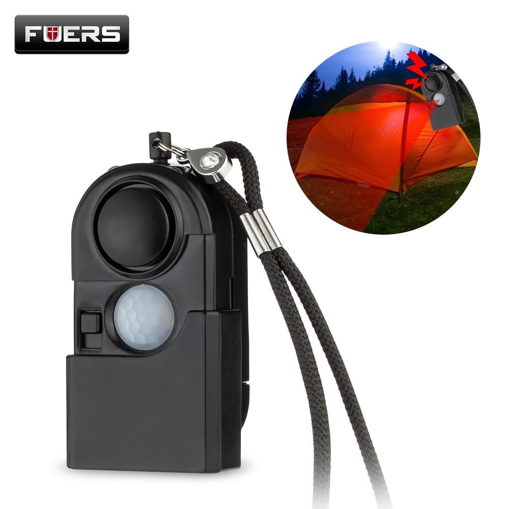 120dB Camping Alarm Infrared Motion Detector Personal Self Defence Keychain LED Light Flashlight Vocation Alarm Security Sensor