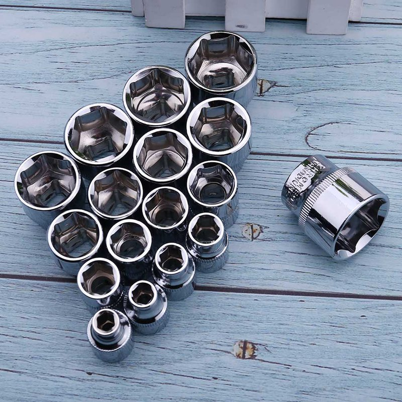 6mm-24mm Series Hexagonal Standard 3/8 Inch Short Sleeve Standard Hexagonal Socket Chrome Vanadium Steel Head Hex Socket Tool