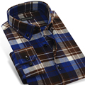 CAIZIYIJIA Men's Plaid & Checked Pattern Brushed Flannel Shirt 2017 Spring Autumn Long Sleeve Slim Fit Casual Button-down Shirts