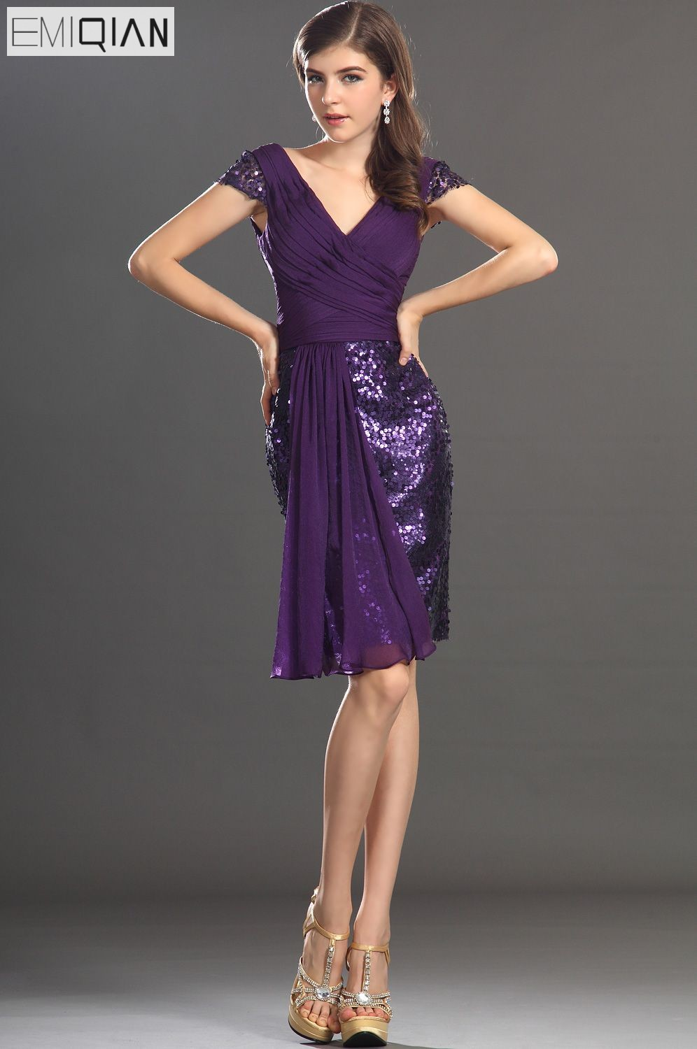 Free Shipping New Cap Sleeves Shiny V-Neckline Sequined   Cocktail     Dress