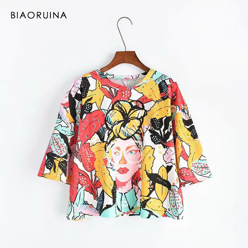 Fashion Style Biaoruina Women Casual Colorful Printed T-shirt Batwing Sleeve Character Painting Fashion Tees Women's Tropical Holiday T-shirts To Be Distributed All Over The World