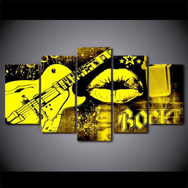 5 Pieces Mouth Kiss Rock Guitar Wall Art Canvas Pictures Painting ...