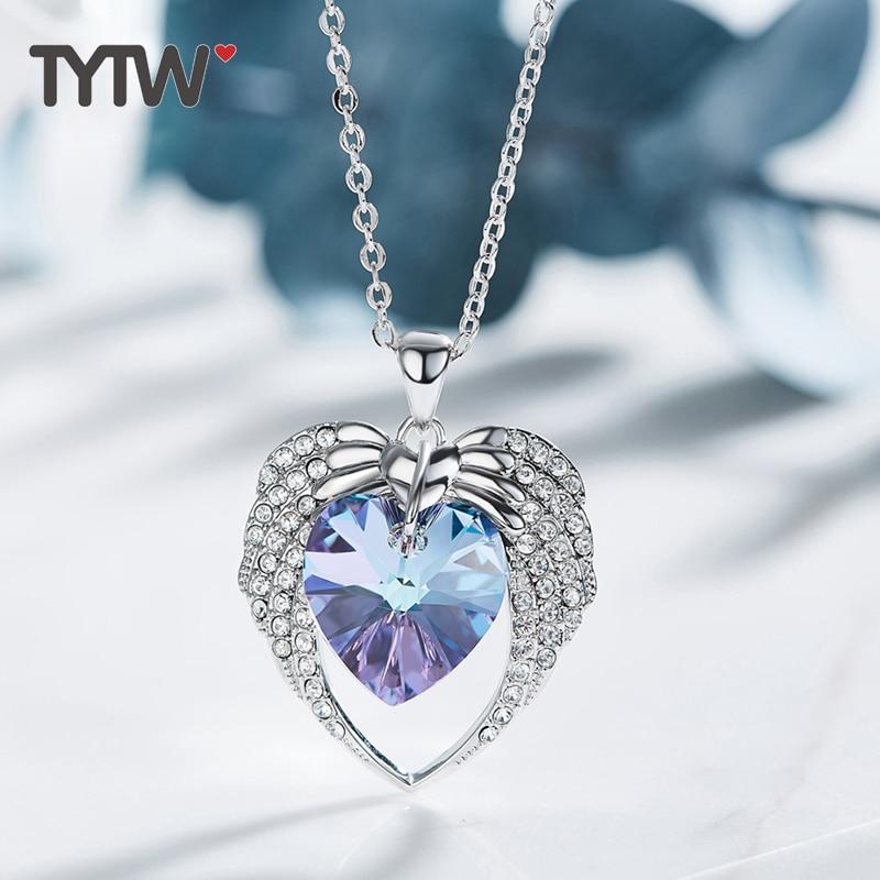 TYTW Crystals From Austrian Jewelry Angel Heart Shaped Blue Purple Chic Fashion Jewelry Austrian Rhinestone Necklaces & Pendant rhinestone heart angel wings bracelet